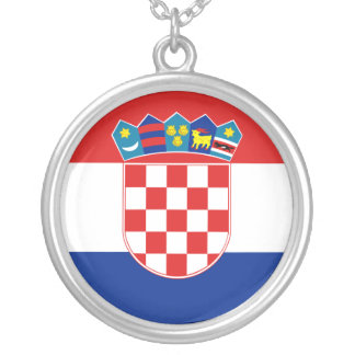 Civil Ensign Of Croatia, Croatia flag Silver Plated Necklace