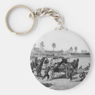 Civil War Ambulance Crew Basic Round Button Key Ring