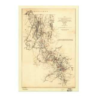 Civil War Atlanta Campaign Map September 1, 1864 Canvas Print