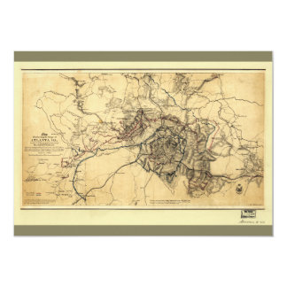 Civil War Atlanta Ga. Map (July 19 - Aug 26 1864) Card