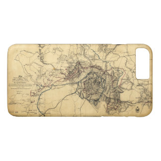 Civil War Atlanta Ga. Map (July 19 - Aug 26 1864) iPhone 8 Plus/7 Plus Case