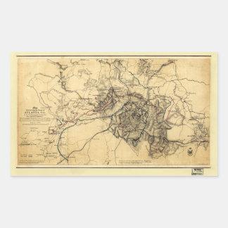 Civil War Atlanta Ga. Map (July 19 - Aug 26 1864) Rectangular Sticker