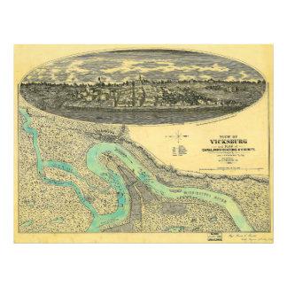Civil War Era Map of Vicksburg Mississippi 1863 Photo Art