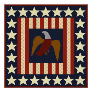 Civil War Era Stars and Eagle Quilt Square Poster