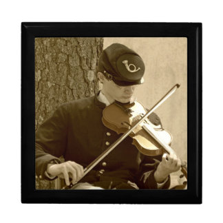 Civil War Fiddle Player Large Square Gift Box