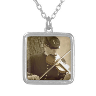 Civil War Fiddle Player Silver Plated Necklace