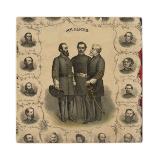Civil War Heroes Maple Wood Coaster