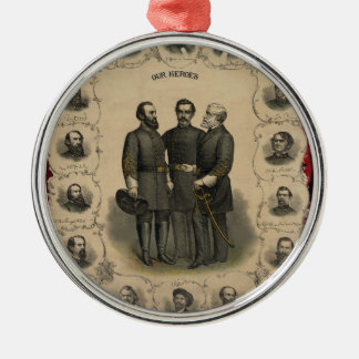 Civil War Heroes Silver-Colored Round Decoration