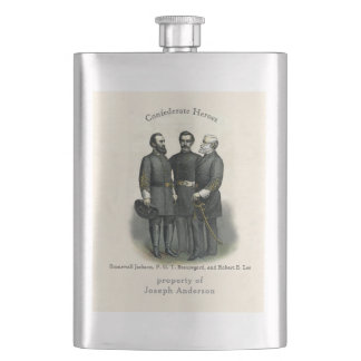 Civil War Heroes Stonewall Beauregard Lee Hip Flask