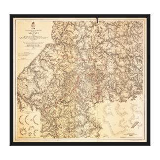 Civil War Map Atlanta Georgia July 19-Aug 26 1864 Stretched Canvas Prints