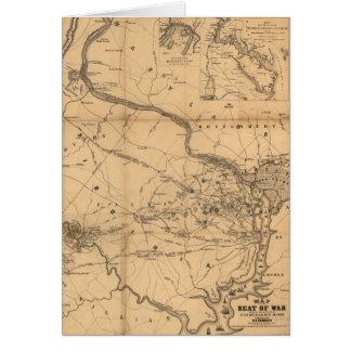 Civil War Map of Battles July 18, 21 & Oct 21 1861 Card