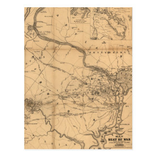Civil War Map of Battles July 18, 21 & Oct 21 1861 Postcard