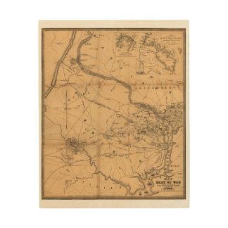 Civil War Map of Battles July 18, 21 & Oct 21 1861 Wood Prints