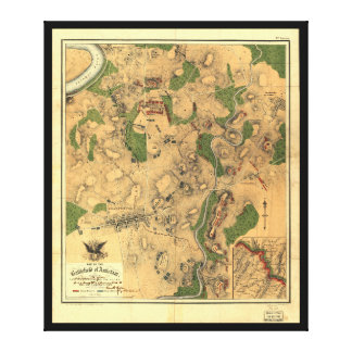 Civil War Map of the Battlefield of Antietam 1862 Stretched Canvas Print