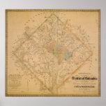 Civil War Map of Washington DC 1862 Poster