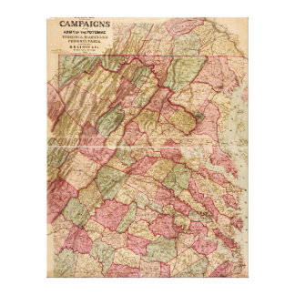Civil War Military Map Potomac Campaign (1863) Stretched Canvas Print