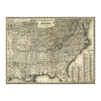 Civil War Military Operations Map The Lost Cause Canvas Print