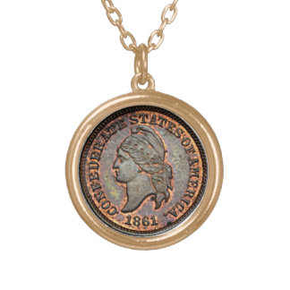 Civil War Penny 1861 USA Confederate Gold Plated Necklace