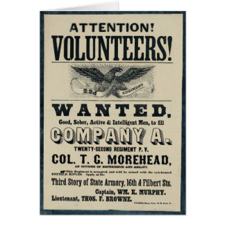 Civil War Recruitment Poster, 22 Infantry Regiment Card