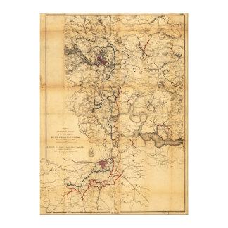 Civil War Richmond and Petersburg Map (1865) Gallery Wrap Canvas