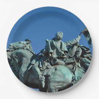 Civil War Soldier Statue in Washington DC_ 9 Inch Paper Plate