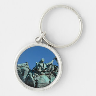 Civil War Soldier Statue in Washington DC_ Silver-Colored Round Key Ring