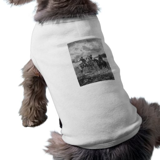 Civil War Soldiers On Horseback Dog Tee Shirt