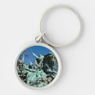 Civil War Statue in Washington DC Silver-Colored Round Key Ring