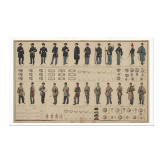 Civil War Union and Confederate Soldiers Uniforms Stretched Canvas Print