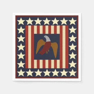 Civil War Union Eagle & Stars Quilt Square Napkins Disposable Serviette