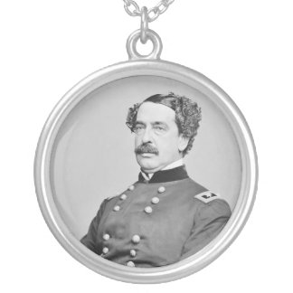 Civil War Union General Abner Doubleday Silver Plated Necklace