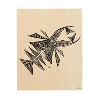 Civishi #218 Black, Abstract Sea Creature Wood Canvas