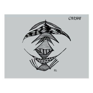Civishi #23 Black, Abstract Alien Creature Postcards