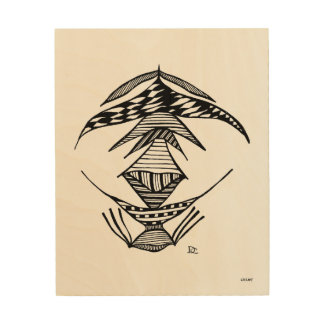 Civishi #23 Black, Abstract Alien Creature Wood Prints
