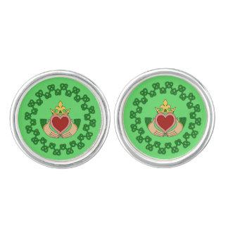 Claddagh and Green Knotwork Cufflinks