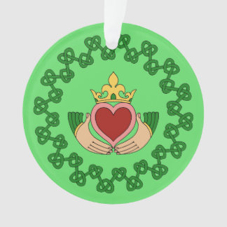 Claddagh and Green Knotwork Ornament