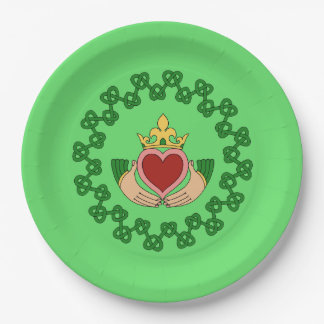 Claddagh and Green Knotwork Paper Plate