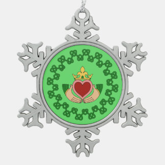 Claddagh and Green Knotwork Snowflake Pewter Christmas Ornament