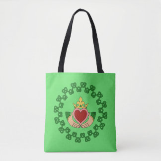 Claddagh and Green Knotwork Tote Bag