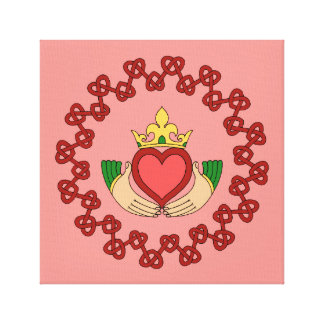 Claddagh and Red Knotwork on Pink Canvas Print