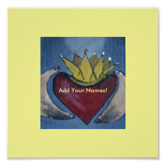 Claddagh Heart Love Poster-Add Your names Poster