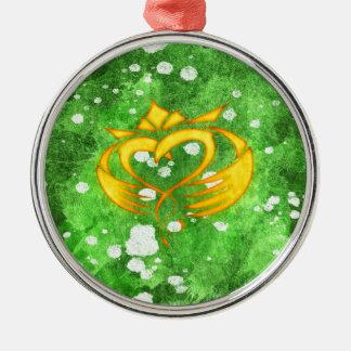 Claddagh Irish Celtic Splatter Metal Ornament