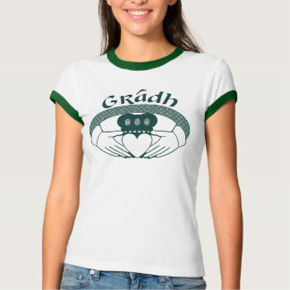 Claddagh Ring Love Gradh Gaelic in Green T-Shirt
