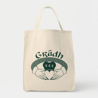 Claddagh Ring Love Gradh Gaelic in Green Tote Bag