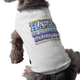 Claiming Benefits Hate Face Sleeveless Dog Shirt
