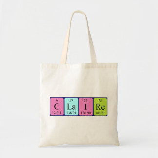 Claire periodic table name tote bag