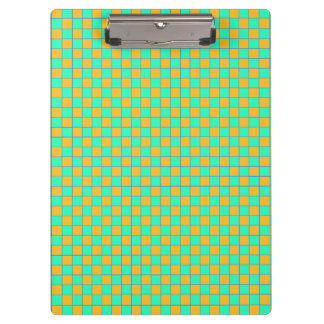 Clamping board Karo in orange and turquoise mint Clipboard