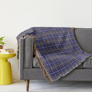 Clan Alexander Tartan Blue and Purple Plaid Throw Blanket
