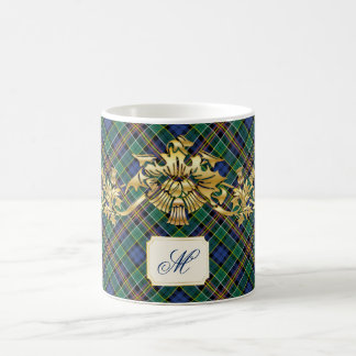 Clan Allison Tartan & Faux Gold Scottish Thistles Coffee Mug