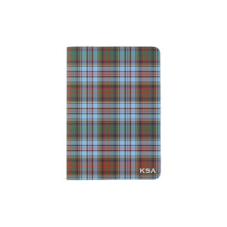 Clan Anderson Light Blue Scottish Tartan Monogram Passport Holder